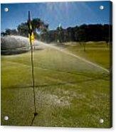 Golf Course Sprinkler On Sunny Day Acrylic Print