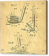 Golf Sand Wedge Patent On Aged Paper Acrylic Print
