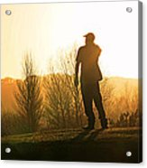 Golfer At Sunset Acrylic Print