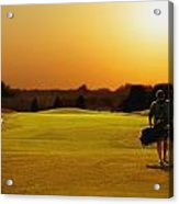 Golfer Walking On A Golf Course Acrylic Print