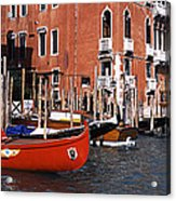 Gondolas In A Canal, Grand Canal Acrylic Print