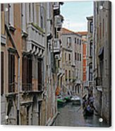 Gondolas On Backstreet Canal Acrylic Print