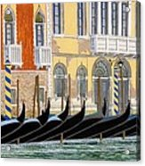 Gondolas On The Grand Canal  Acrylic Print