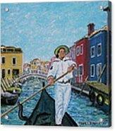 Gondolier At Venice Italy Acrylic Print