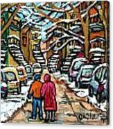 Good Day In January For Winter Stroll Snowy Trees And Cars Verdun Street Scene Painting Montreal Art Acrylic Print