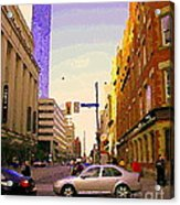Good Morning Drive By Yonge St Starbucks Toronto City Scape Paintings Canadian Urban Art C Spandau  Acrylic Print