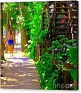 Goodbye Walking Away New Friends New Places To Visit Streets Of Verdun Montreal Art Scenes C Spandau Acrylic Print