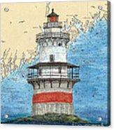 Goose Rocks Lighthouse Me Nautical Chart Peek Art Acrylic Print