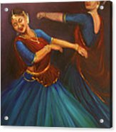 Gopis Dancing To The Flute Of Krishna Acrylic Print