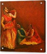 Gopis Distressed As Krishna Is Not Seen Acrylic Print