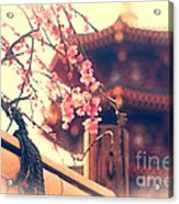 Gorgeous Pagoda And Plum Blossoms With Bamboo Fence Acrylic Print by Beverly Claire Kaiya
