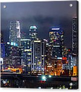Gotham City - Los Angeles Skyline Downtown At Night Acrylic Print by Jon Holiday