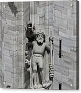 Gothic Cathedral Warrior Statue And Gargoyle Acrylic Print
