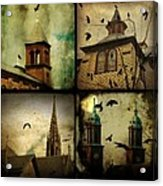 Gothic Churches And Crows Acrylic Print