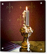Gothic Scene With Candle And Gilt Edged Books Acrylic Print