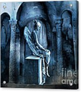 Gothic Surreal Angel In Mourning With Ravens Acrylic Print