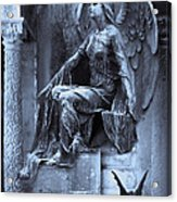 Gothic Surreal Cemetery Angel With Gargoyle And Bats Acrylic Print