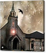 Gothic Surreal Haunted Church And Steeple With Crows And Ravens Flying  Acrylic Print