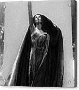Gothic Surreal Haunting Female Cemetery Mourner Figure Black Caped Woman In Front Of Gravestone Acrylic Print