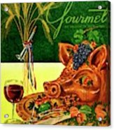 Gourmet Cover Featuring A Pig's Head On A Platter Acrylic Print