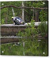 Superbike On Creek Bridge Acrylic Print