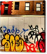Graffit With Taxi Acrylic Print