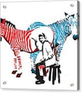 Graffiti Print Of Rembrandt Painting Stripes Zebra Painter Acrylic Print