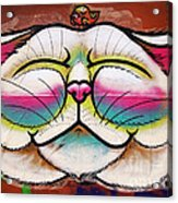 Graffiti Smiling Cat With Bird Acrylic Print