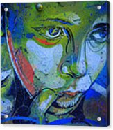 Graffiti Thoughtful Child Acrylic Print by Victoria Herrera