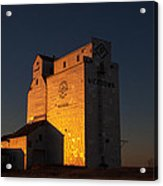 Sunset Grain Elevator At Meadows Acrylic Print by Steve Boyko