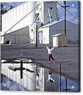 Grain Elevators And Child Acrylic Print
