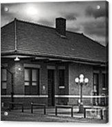 Train Depot At Night - Noir Acrylic Print