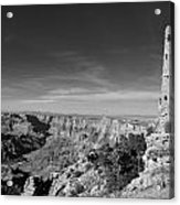 Grand Canyon National Park Mary Colter Designed Desert View Watchtower Near Sunset Black And White Acrylic Print