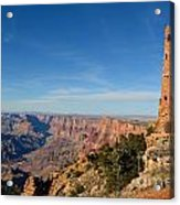 Grand Canyon National Park Mary Colter Designed Desert View Watchtower Near Sunset Acrylic Print