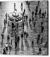 Grand Central Terminal Clock Birds Eye View II Bw Acrylic Print