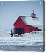 Grand Haven Lighthouse Encased In Ice Acrylic Print