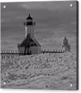 Saint Joseph Michigan Lighthouse In Winter Acrylic Print