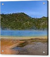 Grand Prismatic Spring In Yellowstone Panorama Acrylic Print
