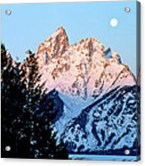 Grand Teton National Park Moonset Acrylic Print
