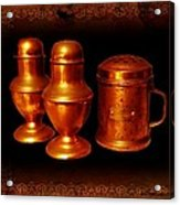 Grandma's Kitchen-copper Salt Pepper  And Flour Shakers Acrylic Print