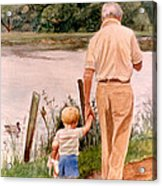 Little Boy And Grandpa In Park Acrylic Print