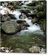 Granite Boulders In A River  Acrylic Print