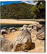 Granite Boulders In Abel Tasman Np New Zealand Acrylic Print