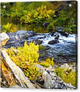 Granite Rocks Above The Cascading Feather River, Quincy California Acrylic Print