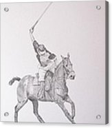 Graphite Drawing - Shooting For The Polo Goal Acrylic Print by Roena King