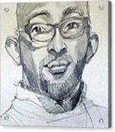 Graphite Portrait Sketch Of A Young Man With Glasses Acrylic Print