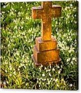 Gravestone With Snowdrops Acrylic Print