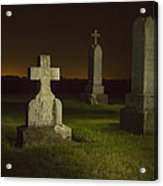Gravestones At Night Painted With Light Acrylic Print