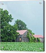 Gray Sky - Red Roofed Barn - Green Fields Acrylic Print