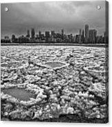 Gray Winter Chicago Skyline Acrylic Print